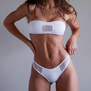 Coulbourne Swim - Coulbourne White Mesh Bikini Set